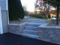 Granite steps were used instead of building the steps from  wall blocks.