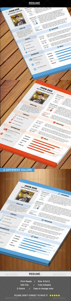 Resume Bundle (2 in 1) Change colour, Simple resume template and - resume book