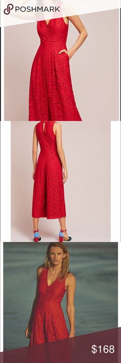 Anthropologie dress Jumpsuit Beautiful Anthropologie Red Lace Jumpsuit Anthropologie Dresses