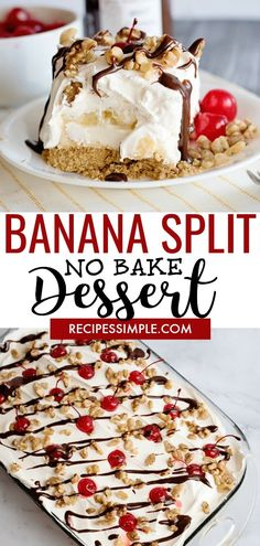 This easy No Bake Banana Split Dessert Recipe combines all the flavors of a clas. This easy No Bake Banana Split Dessert Recipe combines all the flavors of a classic banana split for the perfect delicious summer dessert! Desserts Keto, Mini Desserts, Christmas Desserts, Easy Desserts, Summer Desserts For Parties, Easy Delicious Desserts, Superbowl Desserts, No Bake Summer Desserts, Layered Desserts