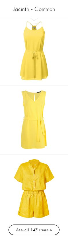 """Jacinth - Common"" by sarahulliel ❤ liked on Polyvore featuring dresses, sash belt, tanktop dress, tank top dresses, short yellow dress, tank dresses, body con dress, mini party dresses, jersey maxi dresses and shift dress"
