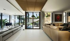 Fantastic Villa Design in France: Glass Door Modern Grey Sofa Glass Bay Windows Artistic Wall Mural ~ jangrue.com Architecture Inspiration