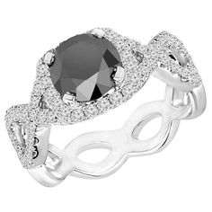 2 CTW Round Cut Black and White Diamond Infinity Engagement Ring in White Gold Black Diamond Wedding Rings, Black Diamond Necklace, Diamond Rings, Diamond Jewellery, White Gold, Black And White, Unique Jewelry, Infinity, Engagement Rings