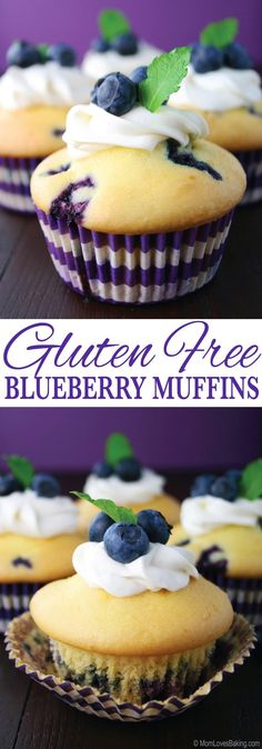 These Gluten Free Blueberry Muffins are light, fluffy and lemony. You would never know they were gluten free! Get the recipe on MomLovesBaking.com