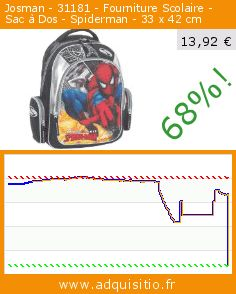 Josman - 31181 - Fourniture Scolaire - Sac à Dos - Spiderman - 33 x 42 cm (Luggage). Réduction de 68%! Prix actuel 13,92 €, l'ancien prix était de 43,26 €. https://www.adquisitio.fr/josman/31181-fourniture-scolaire