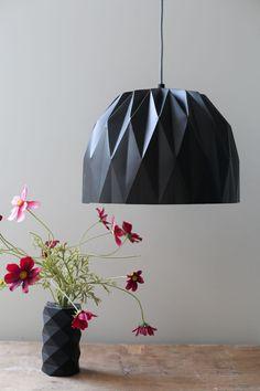 Large Origami Lamp Black Hanging Lampshade door TweelingenHomeDecor