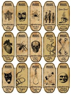 Details about Halloween 15 magic voodoo apothecary bottle labels stickers scrapbooking crafts - Fiesta casera Voodoo Halloween, Halloween Magic, Halloween Potions, Scary Halloween Decorations, Vintage Halloween, Halloween Crafts, Halloween Pumpkins, Halloween Symbols, Halloween Camping