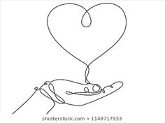 One continuous line drawing of hand holding heart. Arte Linear, Linear Art, Hands Holding Heart, Hand Holding, Face Line Drawing, Creative Instagram Photo Ideas, Continuous Line Drawing, Heart Illustration, Abstract Line Art