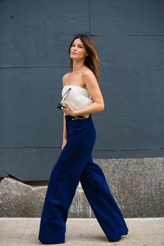Flare blue pants are a must!