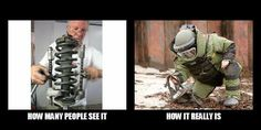 Spring Compressors: how many people see it vs how it really is. Car Jokes, Funny Car Memes, Car Humor, Funny Picture Quotes, Funny Pictures, Best Gas Mileage, Mechanic Humor, Work Memes, Drag Racing