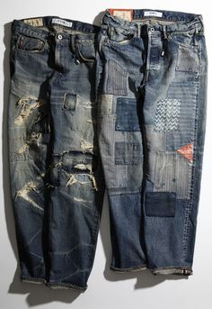 Patched and repaired denim jeans. Mode Chic, Mode Style, Denim Vintage, Vintage Fashion, Repair Jeans, Raw Denim, Denim Jeans, Patched Jeans Mens, Mode Jeans