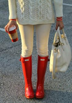 stylish red hunter boots