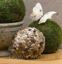 Stone garden decor, cover bowling ball