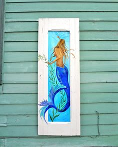 Blue Tail Mermaid Swimming  Painted on an old Amoire Door from New Orleans