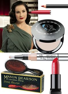 Dita Von Teese's faves from her ARTDECO makeup line: Face Fatale powder compact, Vermillion or Dame lipliner, Velvet-matte lipsticks in Parlez-Vous? & Muse Red, 'Beauty Sleep' wand concealer (plus a must have:   mini Mason Pearson hairbrush)