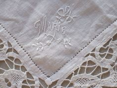 Antique French Fine Linen and Lace Handkerchief Hand Embroidered Marie www.fatiguedfrenchfinds.com