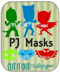 PJ Masks Character Silhouettes and Masks SVG File SVG design Cut File- This listing is for an SVG cut file of PJ Masks Character Silhouettes and Masks SVG. This SVG file will work in any program designed to cut SVG files.  use file with Cricut Explore. MTC. SCAL. Silhouette Cameo DE you get Owellete