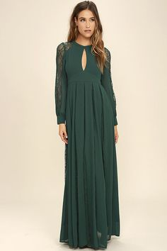 Boho Emerald Bridesmaid Dress: Give your girls some flower crowns because this emerald lace dress is an adorable addition to a boho wedding. To make this look complete just add some simple gold jewelry.
