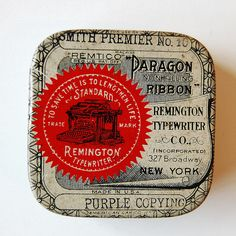 Remington typewriter Paragon ribbon, photo: Janine Vangool (Uppercase) http://www.flickr.com/photos/uppercaseyyc/sets/72157603733873729/with/2198761602/ #vintage #packaging #typography