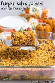 Pumpkin baked oatmeal with chocolate chips is a favorite fall breakfast recipe that's gluten free (with a vegan option) and can be made ahead!