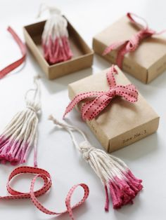 Dip-Dyed Cooking Twine Tassels: Great recipes and more at http://www.sweetpaulmag.com  @Sweet Paul Magazine