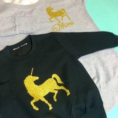 Unicorn Sweaters: Grey & black, matching unicorn sweatshirts, matching unicorn outfits, unicorn sweater, unicorn sweatshirt, unicorn girls jumper Keepsake Baby Gifts, New Baby Gifts, 1st Birthday Gifts, Unicorn Outfit, Girls Jumpers, Cake Smash Outfit, Baby Wall Art, Toddler Gifts, Newborn Gifts