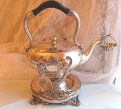Barbour Silver Co Tea Kettle Pot Burner strainer Victorian Marked Antique Barbour, Victorian Teapots, Tea Strainer, Rose Cottage, Kettle, Tea Party, Silver Plate, Copper, Sterling Silver