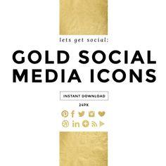 Gold Foil Social Media Icons, Social Media Buttons