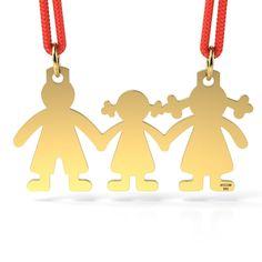 Pandantiv din aur galben cu snur reglabil - familie cu fetita. Poate fi facut cadou persoanelor dragi, la zilele onomastice, ca martisor de 1 martie, de Valentine's Day sau la sarbatorile de Craciun.