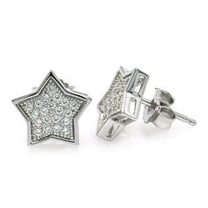 .925 Sterling Silver Rhodium Plated Micro Pave Clear Star Cubic Zirconia Stud Earring