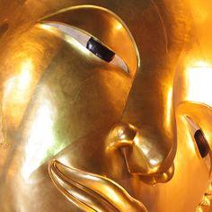 golden buddha face entering Nirvana - Thailand Golden Buddha, Buddha Face, Nirvana, Thailand, Statue, Abstract, Artwork, Decor, Summary