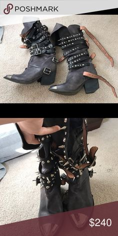 Jeffrey Campbell Kravitz boots Pre-owned Jeffrey Campbell Kravitz Size 6! Well taken care of and will ship well wrapped! Worn twice and then left them in the closet. They're not my style anymore, so I'm letting them go. Jeffrey Campbell Shoes Heeled Boots