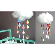 Rain cloud Mobiles with multicolor droplets. Too cute