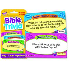 Test your knowledge with four categories of Bible trivia. Two levels of trivia on each card for growing abilities. An engaging learning supplement for Christian classrooms, activity centers, home, and