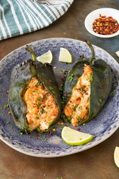 This Cheese Stuffed Poblano Peppers Recipe Chili Pepper Madness is a better for our Breakfast made with wholesome ingredients! Poblano Recipes, Chili Recipes, Mexican Food Recipes, Pepper Recipes, Griddle Recipes, Stuffed Poblano Peppers, Stuffed Poblanos, Stuffed Pablano Pepper Recipe, Cream Cheese Stuffed Peppers