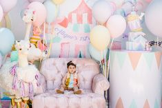 I can't get over these beautiful desserts by for Chloe's Frozen party by 😍 Styling & Concept… Circus First Birthday, Happy Birthday Decor, Circus 1st Birthdays, 1st Birthday Photoshoot, Safari Birthday Party, Carnival Birthday Parties, Birthday Celebration, Carousel Party, Circus Theme Party