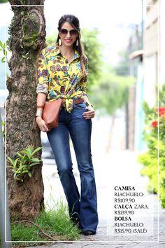 look-calca-flare-jeans-camisa-daslu-riachuelo