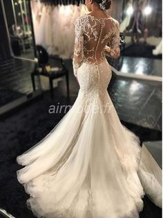 Long Sleeve Lace Mermaid Wedding Dresses, Sexy See Through Long Custom Wedding. - Long Sleeve Lace Mermaid Wedding Dresses, Sexy See Through Long Custom Wedding Gowns, Affordable Bridal Dresses, 17101 The Long Sleeve Backless Lace Mermaid W Source by - Lace Mermaid Wedding Dress, Long Wedding Dresses, Long Sleeve Wedding, Bridal Dresses, Tulle Wedding, Dress Lace, 2017 Wedding, Ling Sleeve Wedding Dress, Tulle Lace