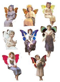 free fairy collage sheet by juanita Vintage Ephemera, Vintage Cards, Vintage Images, Vintage Pictures, Free Collage, Digital Collage, Collage Art, Collage Vintage, Paper Dolls