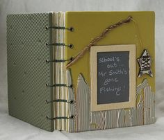 Fishing by sweetmadness, via Flickr. Handmade Polymer Clay Book    Commision. Paired needle Coptic stitch. 5.5 x 4.75 x 1 inches