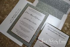 Silver Glitter Wedding Invitation by LoveNotesbyErica on Etsy, $12.00