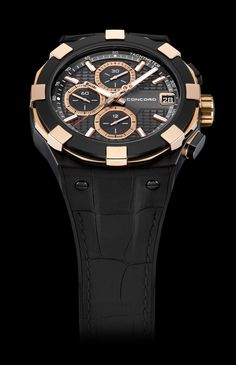 C1 Chronograph Black and Gold, ref. 0320277 http://www.orologi.com/cataloghi-orologi/concord-c1-c1-chronograph-black-and-gold-0320277