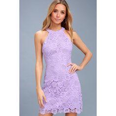 Lulus  Love Poem Lavender Lace Dress ($66) ❤ liked on Polyvore featuring dresses, purple, purple dresses, floral sheath dress, light purple dress, floral lace dress and flower print dress