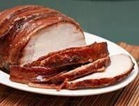 Bacon-wrapped and brown sugar glaze pork loin--made this for dinner on Valentine's Day and served with asparagus and mashed potatoes-Thumbs up!