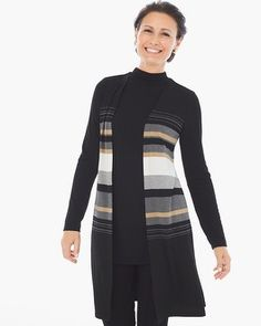 Chico's Sheena Striped Duster