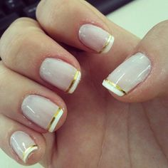 2013 Simple White Golden Nails for Short Nails