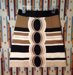 Nwot Cute Retro Mod Womens Merona Skirt Black/brown/ivory/white Sz 2 Very Nice