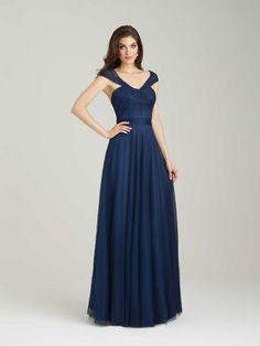Navy Blue Tulle V Neck Floor Length A Line Bridesmaid Dress B1ae0025