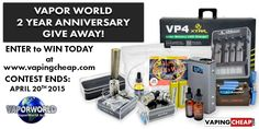 Enter to win one of three prize packages from Vapor World! http://VapingCheap.com/vapor-world-anniversary-giveaway/