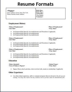 Resume Types Resume Format Used In India  Sample Resume Resume Format And .